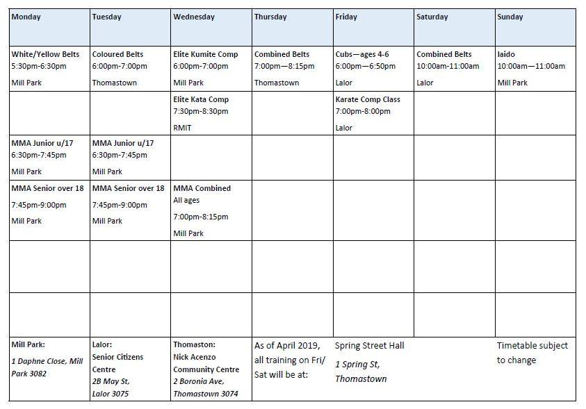 timetable 201218